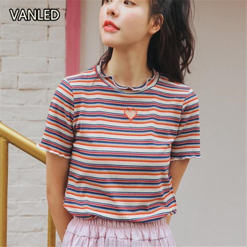 Nuevo 2018 Chic rayas bordado amor ahueca hacia fuera mujeres Slim Pullovers camisetas 415129