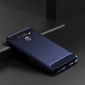 for LG K50S Q60 K40 Case Brushed Carbon Fiber Soft Silicone Bumper Case Cover for LG Stylo 5 K40 V60 Q70 G8X Phone Cover Capa(China)