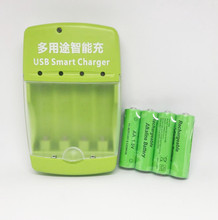 Cncool 4 pack Новый Бренд Щелочная Аккумуляторная батарея 1.5 В AA 3000 мАч + 1 шт. USB Смарт Щелочная/NI-MH/Ni-Cd зарядное устройство