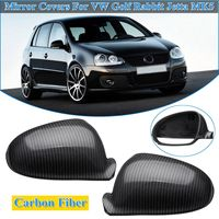 for Golf MK5 Rabbit GTI R32 Standard for VW Jetta 2006 2007 2008 2009 1K0857537 1 Pair Carbon Fiber Side Wing Mirror Covers Cap