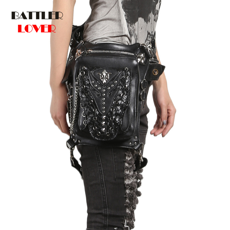 Steampunk Waist Bag For Women Men Punk Style Retro Leather Bag Fanny Packs Vintage Multi-function Waistbags Women Crossbody Bags