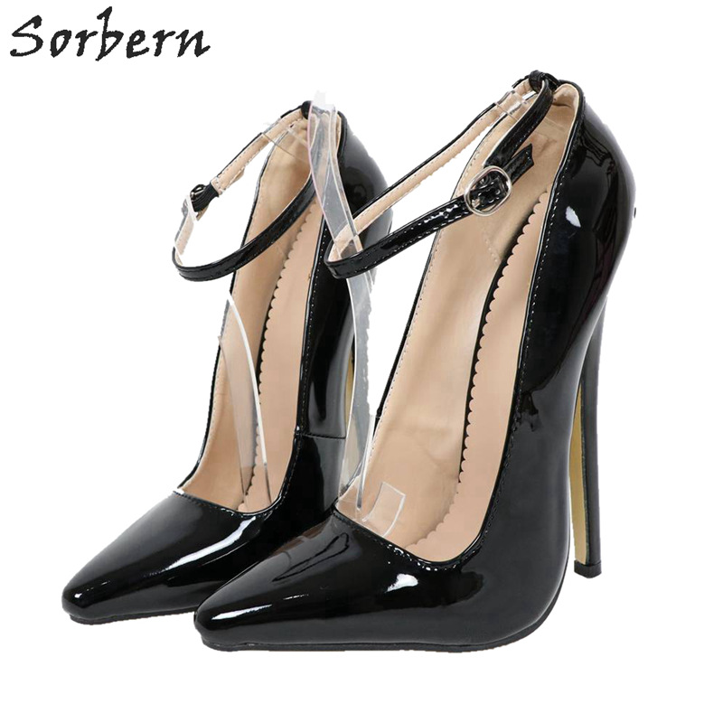 Sorbern Black Patent Women Pumps Ankle Straps Pointed Toe Sexy Fetish High Heel 18Cm Shoes Plus Size Custom Material-Colors