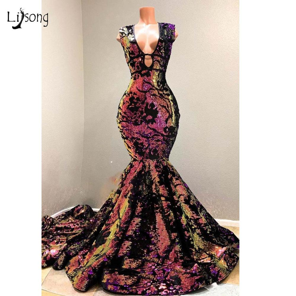 2019 Sparkly Galaxy Color Sequined Mermaid   Prom     Dresses   Sexy Deep V-neck Long   Prom   Gowns Real Image Party   Dress