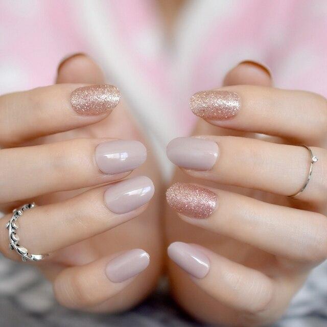 28pcs Kit Sparkly Nude Pre Designed Nails Glitter Decor Short Size Full Cover Nail