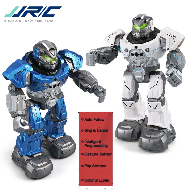 New JJRC R5 CADY WILI SmartWatch Intelligent Programing Education RC Robot Auto Follow Gesture Control Kids Toys Blue White jjr c r5 cady wili intelligent robot remote control programmable auto follow gesture sensor music dance rc robot toy kids gift