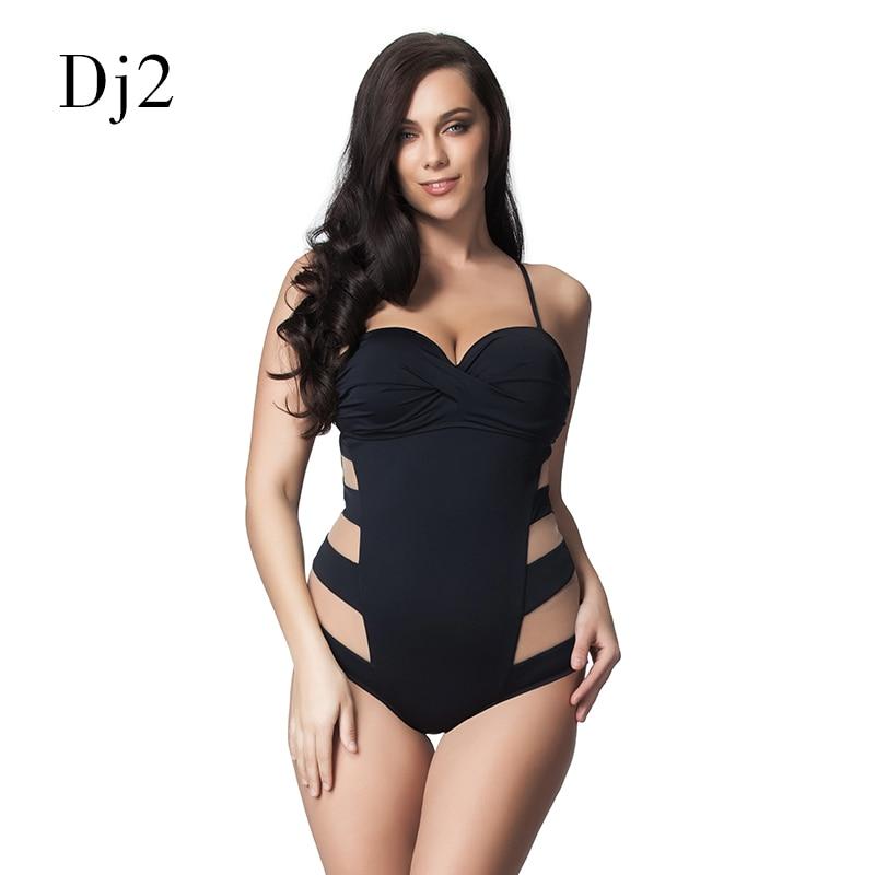 Sexy Transparent Mesh Plus Size Swimwear Women One Piece Bandeau Swimsuit Push Up Bathing Suit High