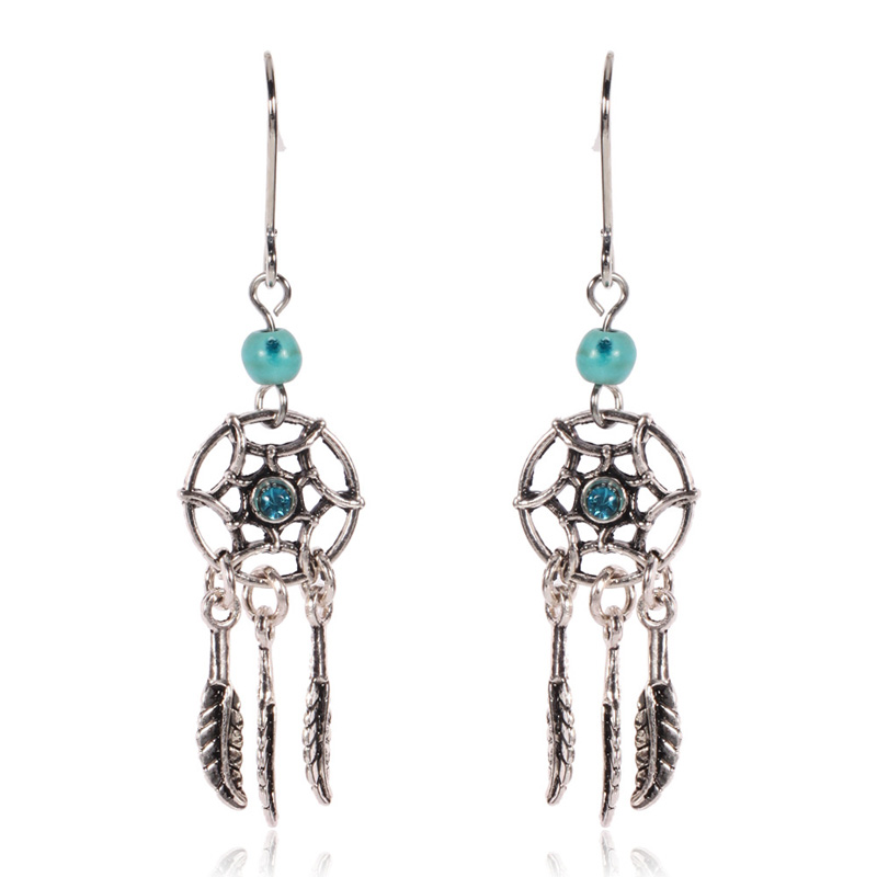 Boho Jewelry For Women Bohemia Beads Crystal Dreamcather Feather Tassel Earrings India Dream Catcher Charms Earrrings