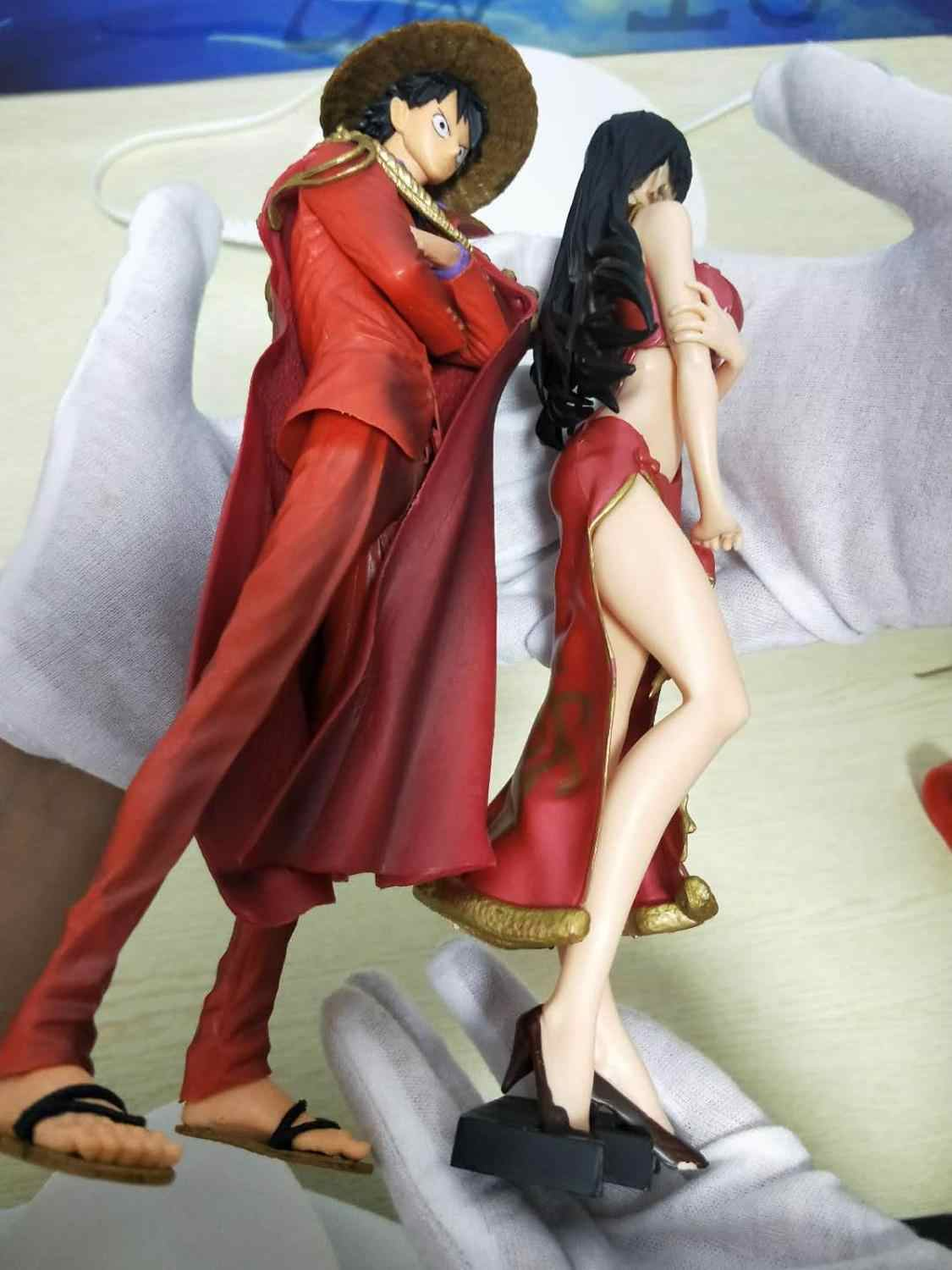 10Inches ONE PIECE 20th Anniversary KOA Monkey D. Luffy&Boa Hancock Red Dress Action Figure Model Collection Toys M55