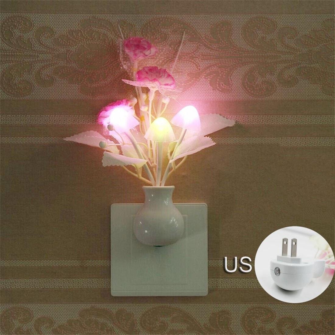 Colorful Nightlights 110V US Plug Mushroom Rose Light Sensor Lamp LED Night Light Lamp Home Bedroom Decoration For Baby Kids
