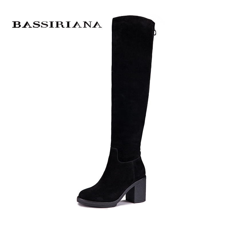 abfe5e80f9bf4 BASSIRIANA المرأة الشتاء جلد طبيعي أحذية عالية أزياء السيدات امرأة جولة حذاء  مزود بفتحة للأصابع إمرأة أحذية سوداء برقبة