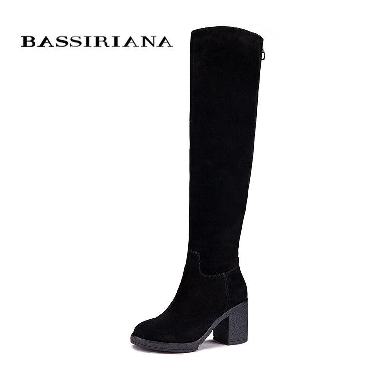 BASSIRIANA Femmes Hiver En Cuir Véritable Haute Bottes De dames De Mode Femme bout Rond Chaussures Femmes Noir Bottes