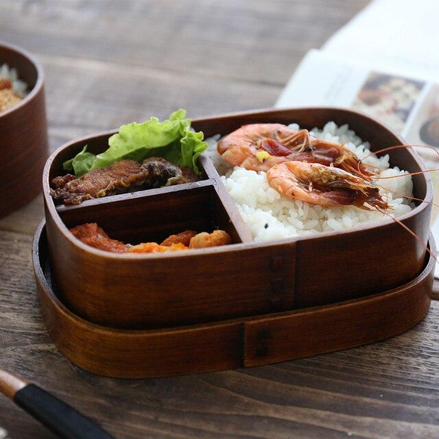 Лидер продаж дерево Коробки для обедов японский ручной работы суши Bento Lunchbox с разделителем Портативный Еда контейнер Посуда Столовая посуда набор