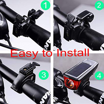 Solar Power Bicycle Front Light Bike Tail Rear Light Bicycle USB Rechargeable Lamp Cycling LED Flashlight Lantern Horn Bell 5