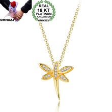 OMHXZJ Wholesale Personality Fashion OL Woman Girl Party Wedding Gift Gold Dragonfly AAA Zircon 18KT Gold Pendant Necklace NC134 omhxzj wholesale personality fashion ol woman girl party wedding gift lucky 8 aaa zircon 18kt yellow gold white gold ring rn40