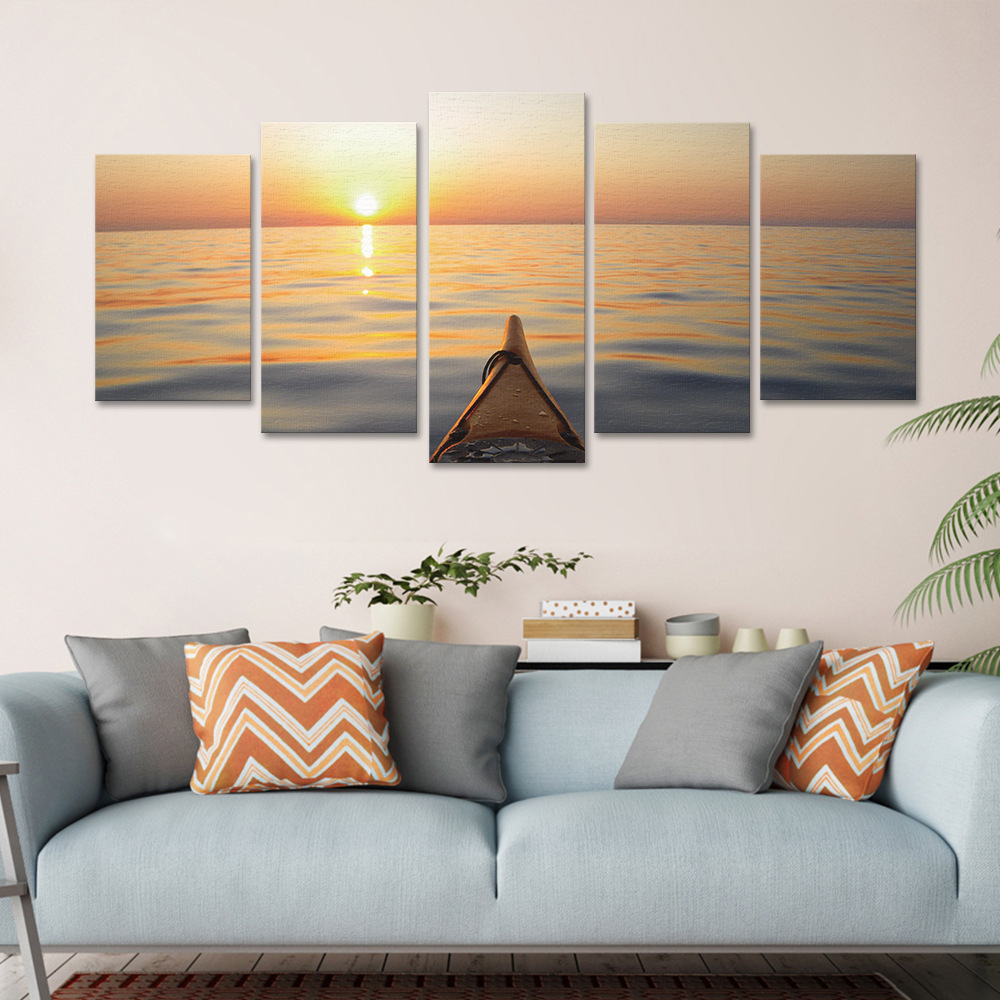 3D Seaside Pier Painting Bedroom Living Room Background Sofa Wall Modern Home Decoration Frameless Five Pictures Inkjet Canvas