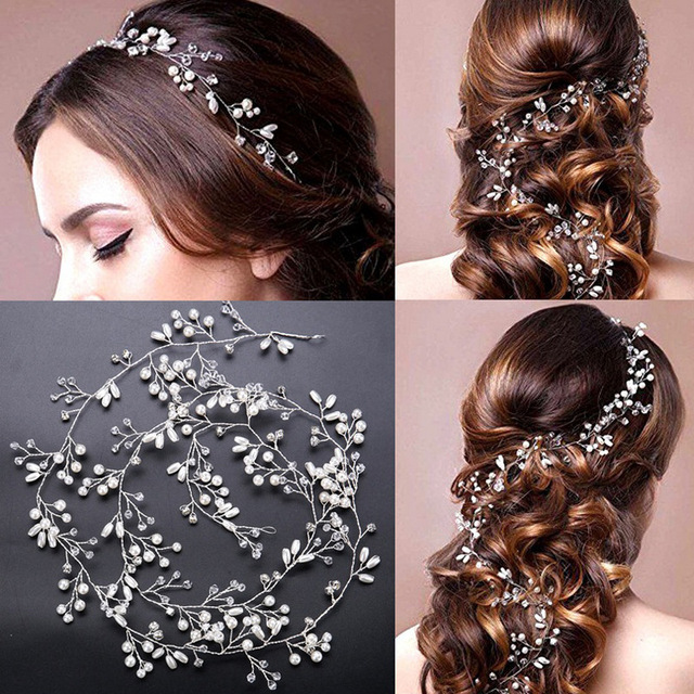 Handmade Bridal Crystal Rhinestone Hair Piece Women White Simulated-pearl  DIY Headband Wedding Tiaras Crown hairband Accessories 957134922