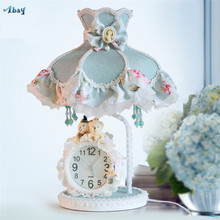 Korean Fabric Lace Mediterranean Table Lamps for Bedroom Bedside Princess Room Watch Creative Children's Desk Lights Fixtures(China)