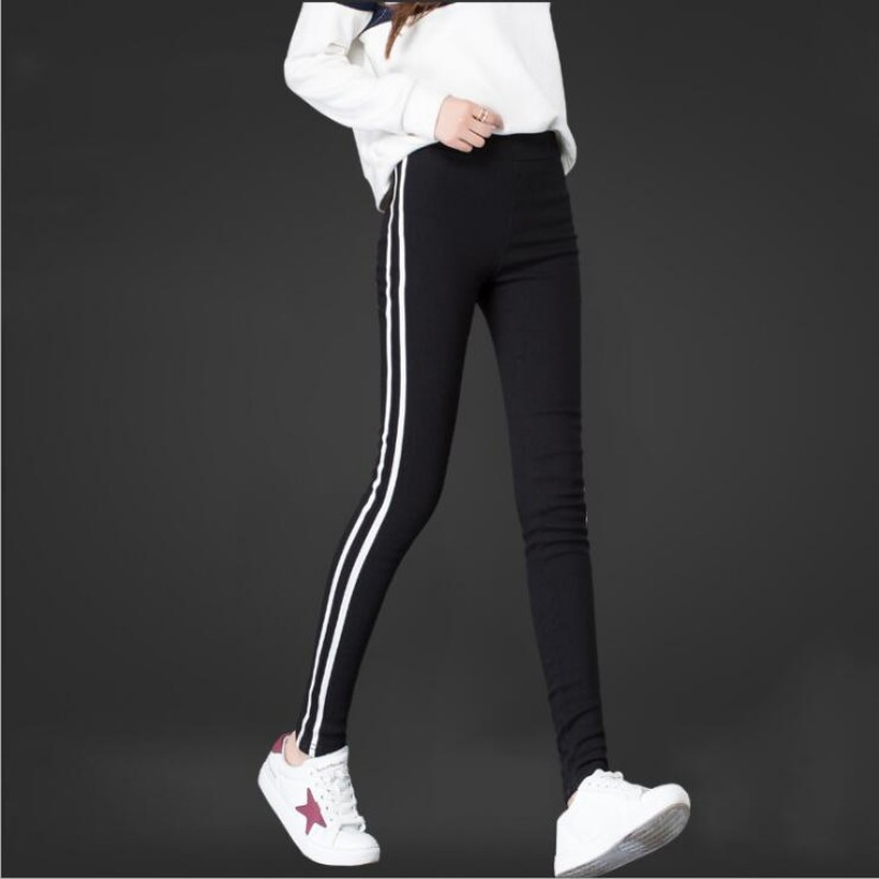 Musim Gugur Wanita Memakai Legging Fashion Sisi Garis Strip Putih Legging Hitam Legging Kasual Baju Celana Tinggi Pinggang Legging Aliexpress