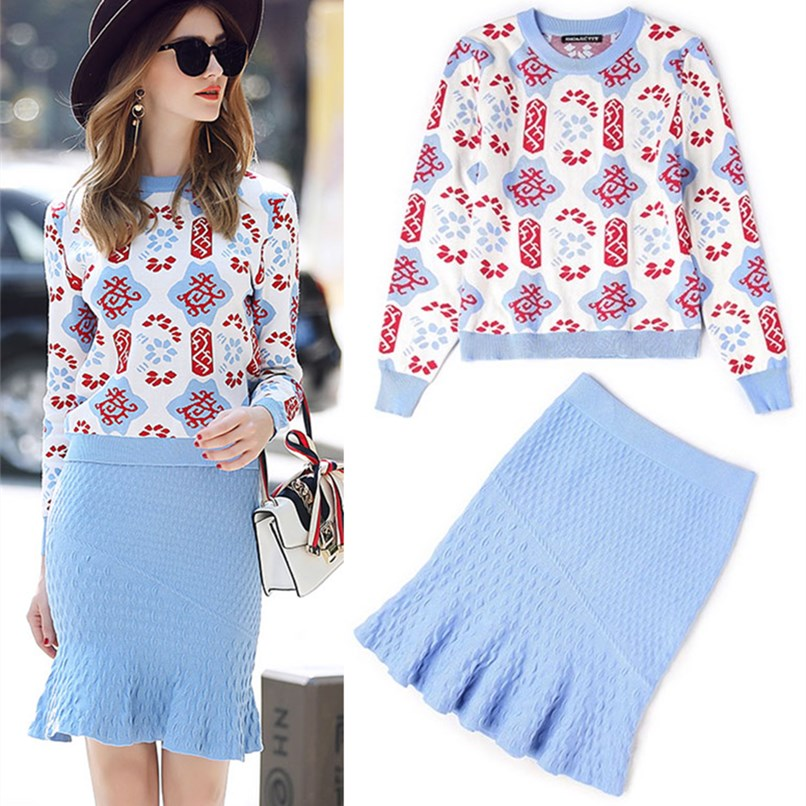 b422e25dd8 Vintage Retro Floral Skirt Set Knitted Sweaters Women Autumn Winter Skirt  Suit Party Knitwear Tops Sweater