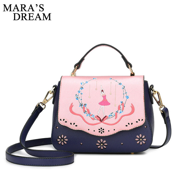 Mara S Dream 2018 Hollow Out Women Leather Handbags Female Tote Cute Bag Embroidery Beauty