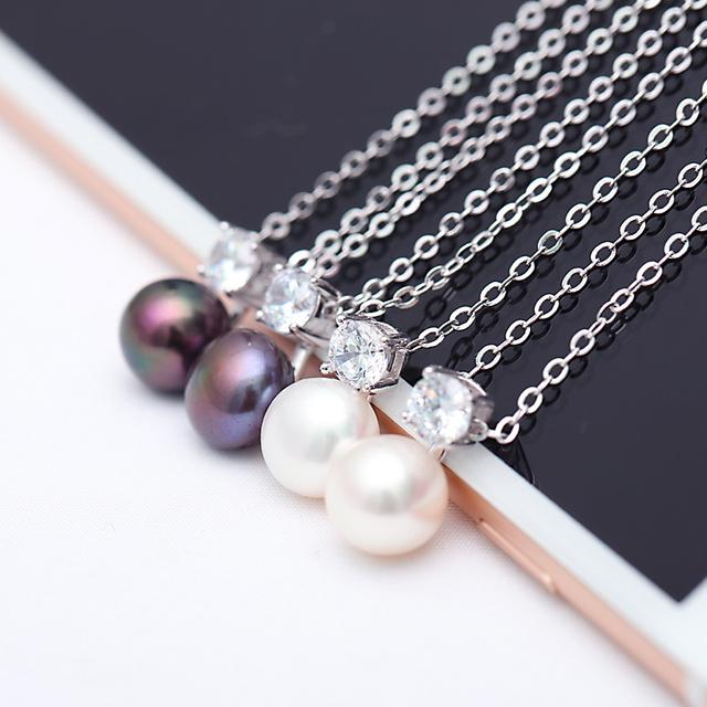 DAIMI Glitter Necklace 9-10mm Natural White Pearl Pendant 925 Sterling Silver Pendant Necklace Shine Jewelry
