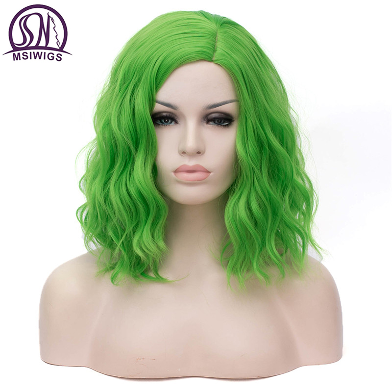 MSIWIGS Woman Pink Wigs Short Curly Heat Resistant 14 inch Synthetic Hair Green Wig For Black White Women Cosplay Bob Wigs
