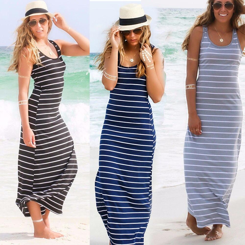 9d6b1423b8b7 Sexy Women Summer Boho Long Maxi Dress Beach Sleeveless Tank Dresses Plus  Size Striped Cotton Femme Vestidoss M L Xl Xxl