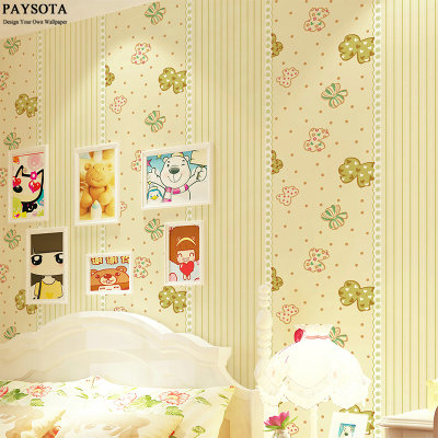 Photo Wallpaper Paysota Butterfly Stripes Wallpaper Bedroom Boys And Girls Princess Children Room Non-woven Wall Paper new 2016 hot selling cartoon sleeping bear children baby room non woven wallpaper sitting room bedroom wall paper boy princess