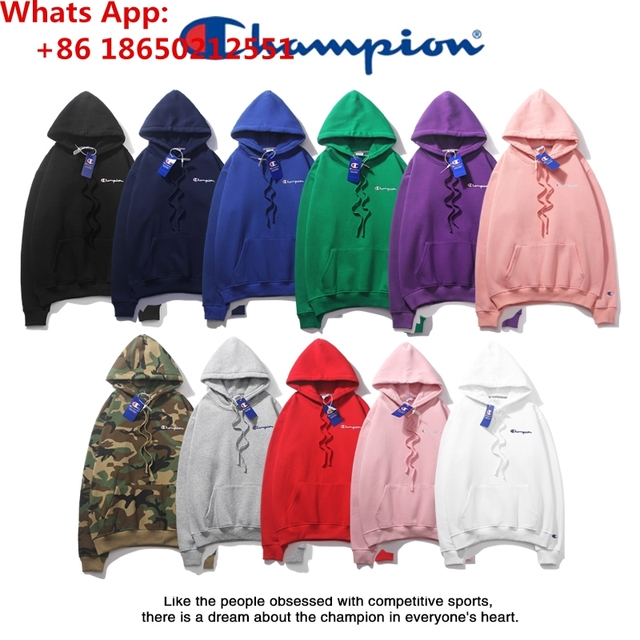 170a454c2472 2019 Authentic Champion Embroidered Logo Men s Women s Hoodies Sweater  Pullover Adults Sweatshirt C069