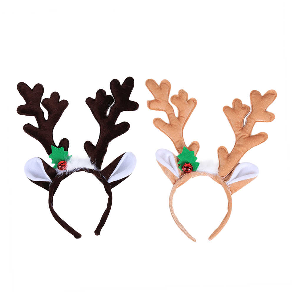 2pcs Cute Reindeer Antlers Headbands Leave And Bell Dress Up Headwears Hair Hoops Headbands For Christmas Cosplay Party Gift Aliexpress