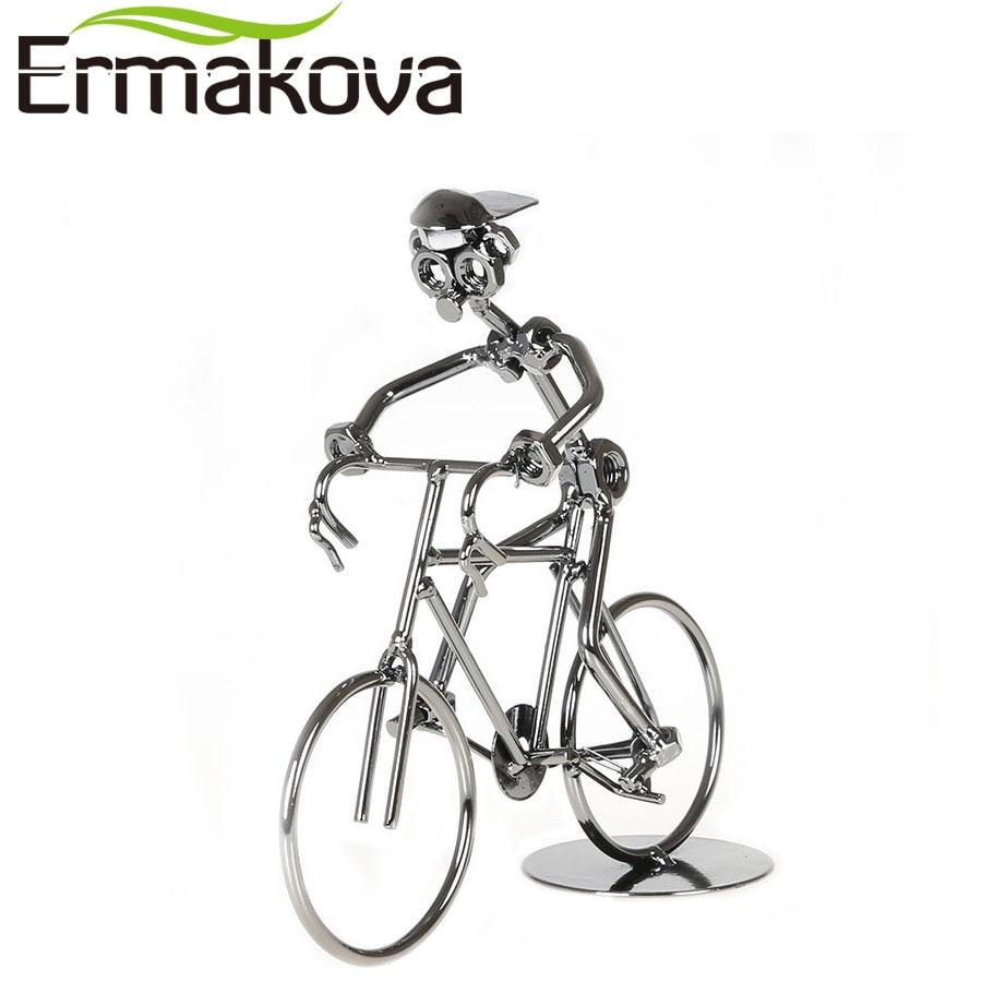 ERMAKOVA 7.5 (19 centimetri) metallo Scultura Ciclista Ciclista Figurine Bicicletta Rider Statua Bike Racer Mano di Saldatura Home Office DecorERMAKOVA 7.5 (19 centimetri) metallo Scultura Ciclista Ciclista Figurine Bicicletta Rider Statua Bike Racer Mano di Saldatura Home Office Decor
