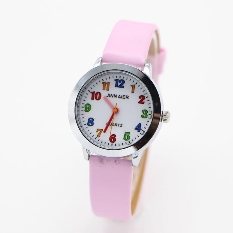 New Arrival Fashion Leather Cartoon Watch Children Kids Girls Boys Students Quartz Wristwatch Relogio Gift Clock