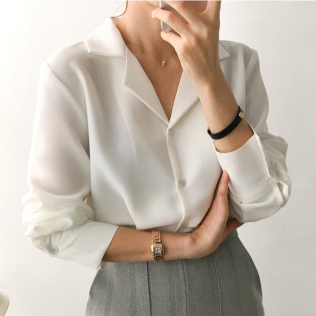 2019 Korean Women Work Office Blouses Shirts Long Sleeve Fashion V Neck Loose Casual Shirts Classic Working Tops White