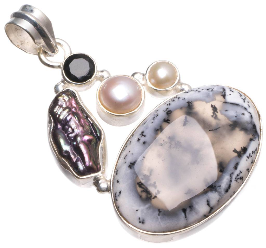 Natural Dendritic Opal,Biwa Pearl,River Pearl Black Onyx Unique 925 Sterling Silver Pendant 1 3/4 U0113 соус паста pearl river bridge hoisin sauce хойсин 260 мл