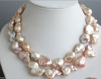 Free shipping Large 15 23mm Pink Natural Baroque Freshwater Cultured Pearl Necklace 33 Long &aa **A good