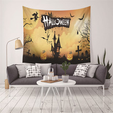 Creative Halloween Wall Tapestry Cartoon Home Decor Hanging Painting Cat Bat Pumpkin Wall Hanging Tapestry 150*200CM pumpkin lamp wall art halloween tapestry