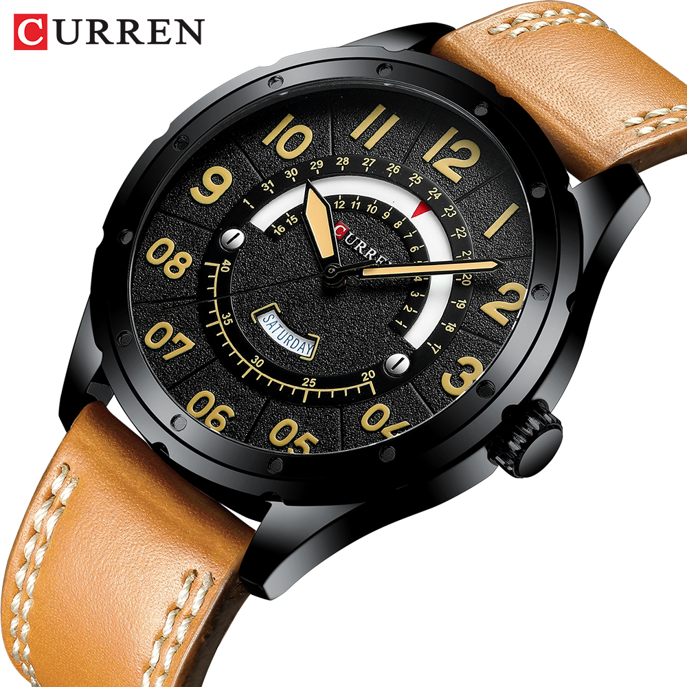 CURREN Date Mens Watches Luxury Sport Watch Quartz Calendar Watch Casual Business Leather Male Clock Military Wristwatches