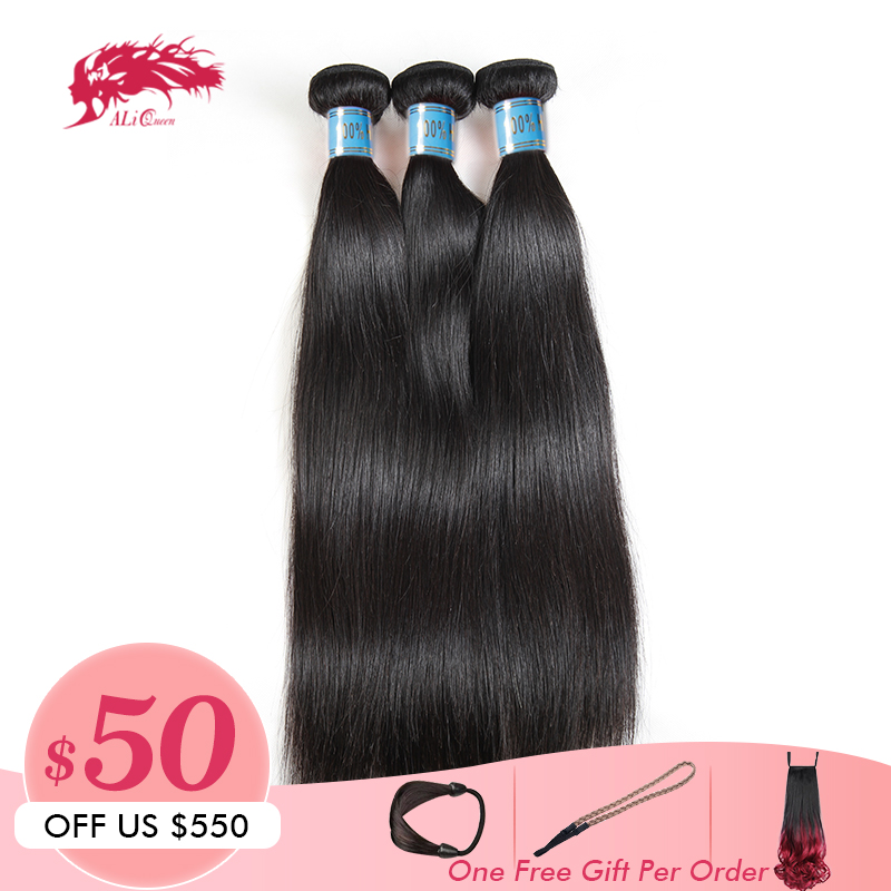 Ali Queen Hair Products 10A Peruvian Straight Hair Bundles Human Hair Extensions Double Weft Virgin Hair