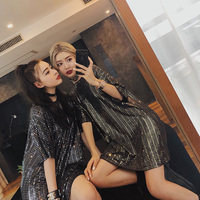 Women silver gold sequined oversize loose t shirts ladies baggy Disco dancing long t shirts female sexy night club wine bar tops