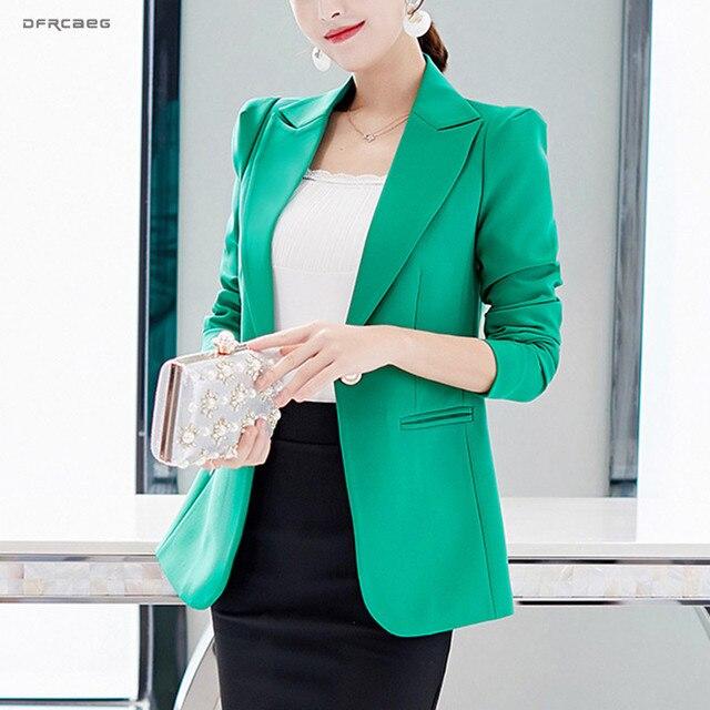 Зеленый синий повседневная обувь блейзер для женщин костюм Мода 2019 г. Повседневное с длинным рукавом офисные Blasers Дамы одна пуговица куртк