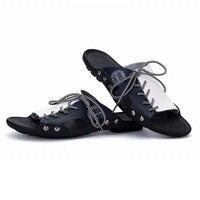الدانتيل يصل جلد جديد أزياء ماركة عارضة الرجال الصنادل النعال الصيف الأحذية اليدوية الخياطة للماء الشاطئ زحافات بووتي