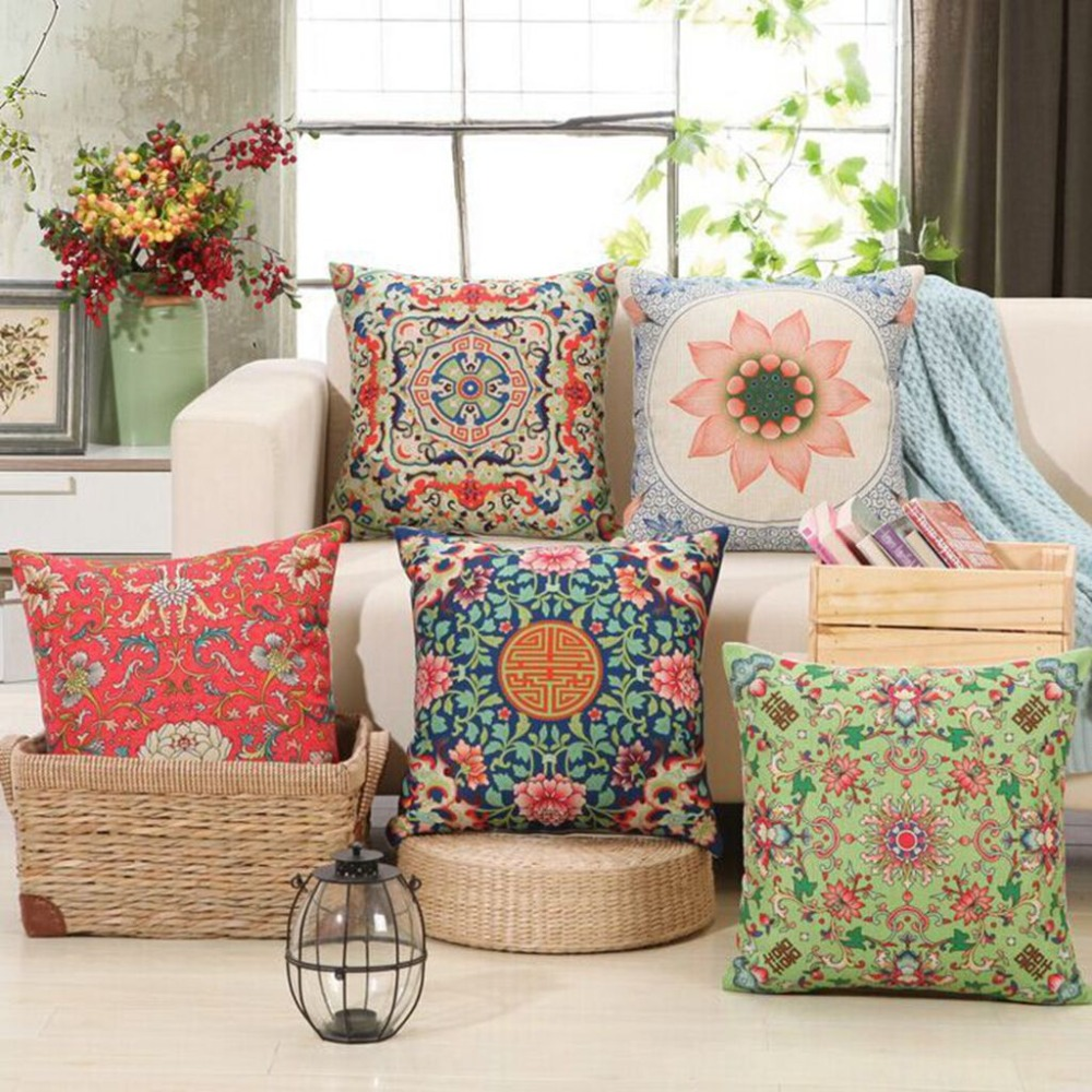 Decorative Throw Pillows For Sofa: Chinese Cushion Covers Vintage Geometric Florals