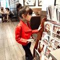 2013-нова 2015 осень зима мода искусственной кожи детей куртки девушки прохладный локомотив стиль девушки пу куртки костюм 2 ~ 7 возраст ребенка