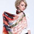 New2014 женщины весна лето большие квадрат розовый desigual цветочный printed100 % чистого шелк шарф shawl88 * 88cmSK078