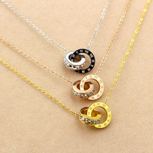 Trendy Necklace Women Stainless Steel Link Rose Gold Chain Round Roman Letter Necklace Cubic Zirconia Jewlery Choker Gift недорого
