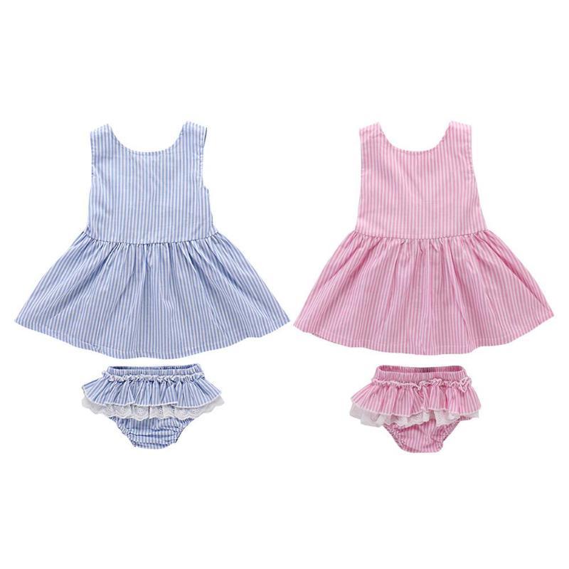 2 Stücke Kinder Baby Mädchen Sommer Streifen Sleeveless Beiläufige Kleid Unterwäsche Set