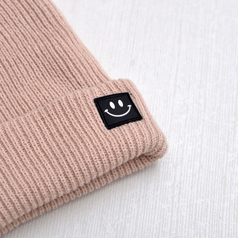 Cute Smile Crochet Knit Cap Beanie 2019 Autumn New Solid Warm Skullies Beanies Caps Female Knitted Hat Ladies Girls Winter Hats 4