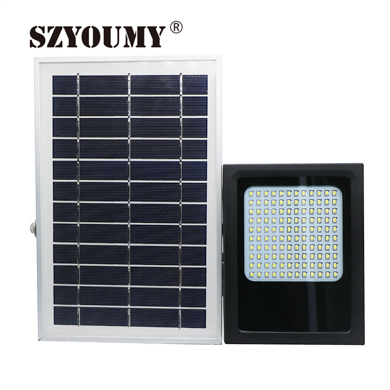 SZYOUMY IP65 LED Solar flood light 3528 SMD 15W 120 Powered Panel Motion Sensor LED Floodlight Night Sensor Outdoor Garden Light brelong 15w smd 3528 led panel light