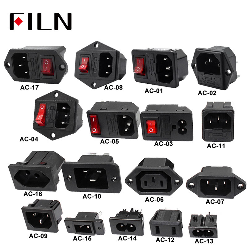 iec320-c14-electrical-ac-socket-3-pin-red-led-250v-rocker-switch-10a-fuse-female-male-inlet-plug-connector-2-pin-socket-mount