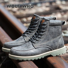 WOLF DIE 2019 Super Warm Mannen Winter Laarzen Suede Snowboots Mannelijke Warm Lace Up Casual Schoenen Man Fashion Enkel boot krasovki W-056(China)